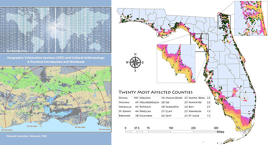 Left: Cover of AAA GIS workshop for cultural anthropology. Right: using GIS to evaluate effects of storm surge of Florida's cemeteries.
