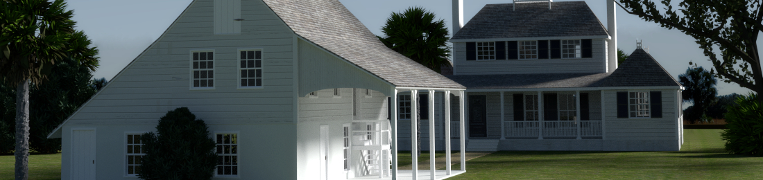 Close-Up of Main House and Kitchen in 3D Reconstruction of Kingsley Plantation