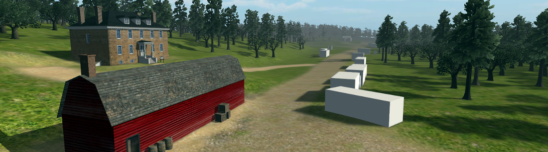 Screenshot of Raritan Landing virtual world environment facing east along River Road