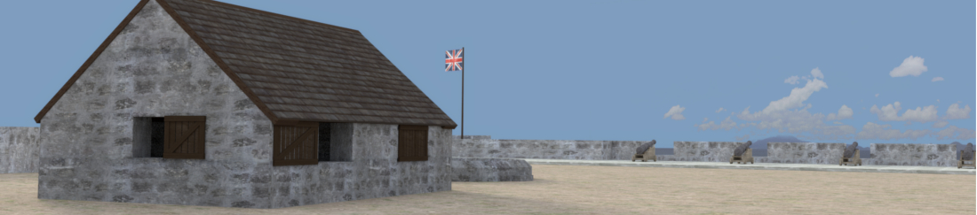 Close-up 3D View of Officer's Quarters at Fort Charles, Nevis, West Indies