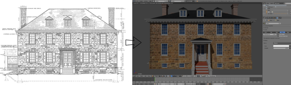 HABS/HAER drawings of Cornelius Low house on left; arrow pointing to virtually reconstructed version on right